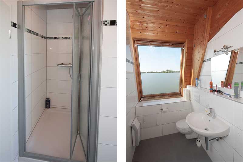 Bad mit Dusche, Waschbecken und Toilette